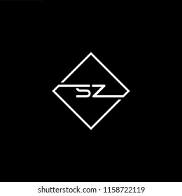 Initial letter SZ ZS minimalist art monogram shape logo, white color on black background.