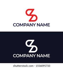 Initial letter S&Z.Z,S, overlapping interlock monogram logo, white color on black background -