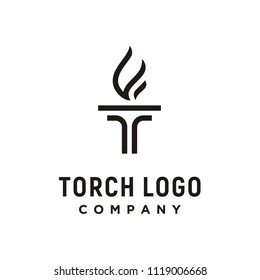 Initial Letter T Burning Torch Fire Flame with Pillar column logo design