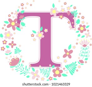Grass Letter H Floral Frame Hallie Stock Vector Royalty Free