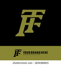 Initial letter T, F, TF or FT overlapping, interlock, monogram logo, green color on black background