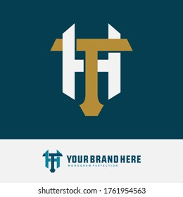 Initial letter T, H, TH or HT overlapping, interlock, monogram logo, gold and white color on blue tosca background