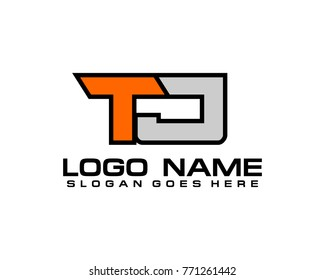 Initial letter T & J logo template vector
