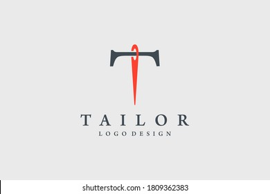Initial Letter T Logo. Black Shape Classic T Letter Calligraphy Linked with Red Needle Combination isolated on Vintage Background. Usable for Tailor Logo. Flat Vector Logo Design Template Element.