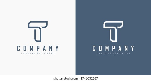 Initial Letter T Logo. Monogram Linear Style isolated on White and Blue Background. Usable for Business and Branding Logos. Flat Vector Logo Design Template Element.