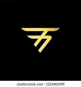 Initial letter T TT minimalist art logo, gold color on black background.