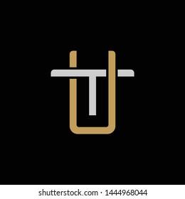 Initial letter T and U, TU, UT, overlapping interlock logo, monogram line art style, silver gold on black background