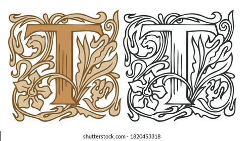Initial letter T with vintage Baroque decorations. Two vector uppercase letters T in beige and black-white colors. Beautiful filigree capital letter to use for monogram, logo, emblem, card, invitation
