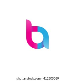 initial letter ta linked round lowercase logo pink blue purple