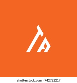 Initial Letter TA Linked Triangle Design Logo