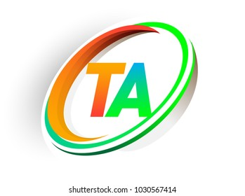 initial letter TA logotype company name colored orange and green circle and swoosh design, modern logo concept. vector logo for business and company identity.