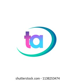 initial letter TA logotype company name, coloreful and swoosh design. vector logo for business and company identity.