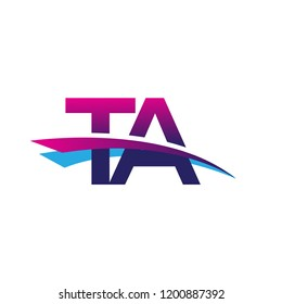 initial letter TA logotype company name colored blue and magenta swoosh design. vector logo for business and company