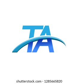 initial letter TA logotype company name colored blue and swoosh design. vector logo for business and company identity.