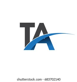 initial letter TA logotype company name colored blue and grey swoosh design. vector logo for business and company identity.