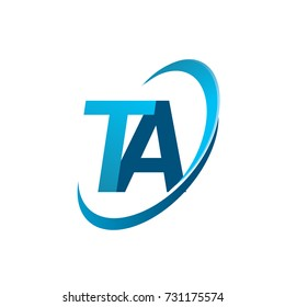 initial letter TA logotype company name colored blue swoosh design concept. vector logo for business and company identity.