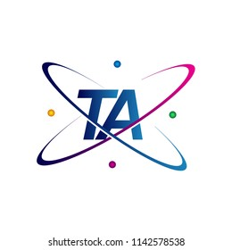 initial letter TA logotype science icon colored blue, red, green and yellow swoosh design. vector logo for business and company identity.