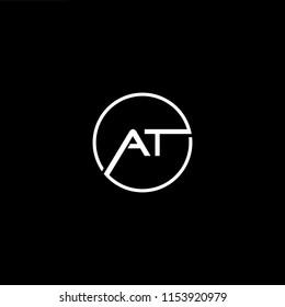 Initial letter AT TA minimalist art monogram shape logo, white color on black background.