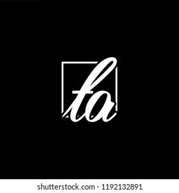 Initial letter TA AT minimalist art monogram shape logo, white color on black background