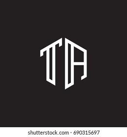 Initial letter TA, minimalist line art monogram hexagon shape logo, white color on black background