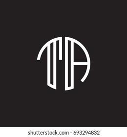Initial letter TA, minimalist line art monogram circle shape logo, white color on black background