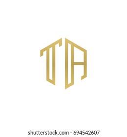 Initial letter TA, minimalist line art hexagon shape logo, gold color