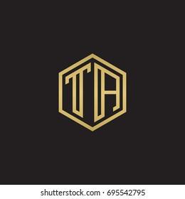 Initial letter TA, minimalist line art hexagon logo, gold color on black background
