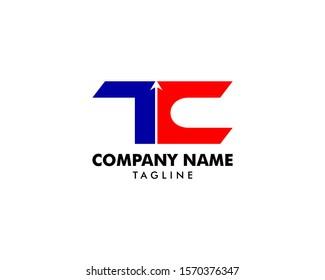 Initial Letter TC Arrow Logo Template Design