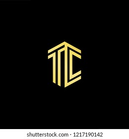 Initial letter TC CT minimalist art logo, gold color on black background.