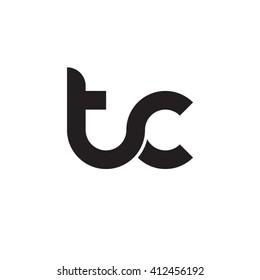 initial letter tc linked round lowercase monogram logo black