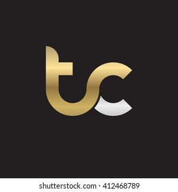 initial letter tc linked round lowercase logo gold silver black background