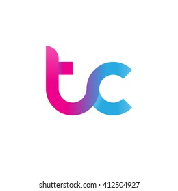 initial letter tc linked round lowercase logo pink blue purple