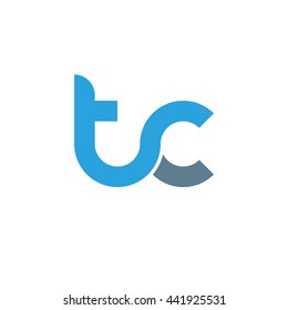initial letter tc linked round lowercase logo blue