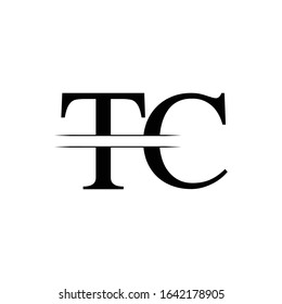 Initial Letter TC Logo Design Vector Template. Linked Typography TC Letter Design