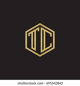 Initial letter TC, minimalist line art hexagon logo, gold color on black background