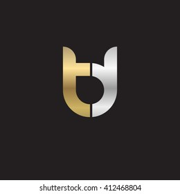 initial letter td linked round lowercase logo gold silver black background