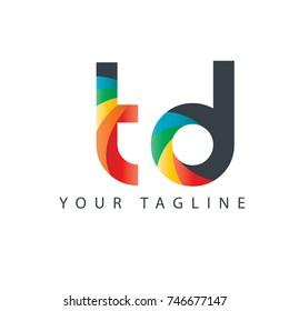 Initial Letter TD Rounded Design Logo