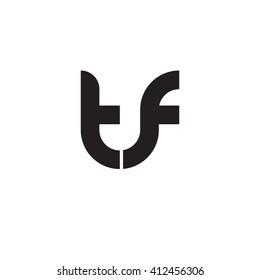 initial letter tf linked round lowercase monogram logo black