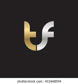 initial letter tf linked round lowercase logo gold silver black background