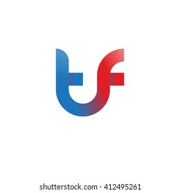 initial letter tf linked round lowercase logo blue red