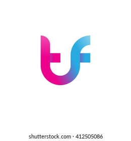 initial letter tf linked round lowercase logo pink blue purple