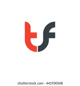 initial letter tf linked round lowercase logo red