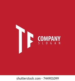 Initial Letter TF Linked Triangle Design Logo