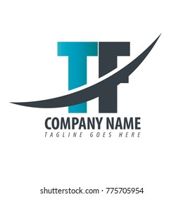 Initial Letter TF Overlapping Logo