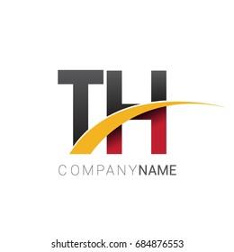 initial letter TH logotype company name colored red, black and yellow swoosh design. isolated on white background.