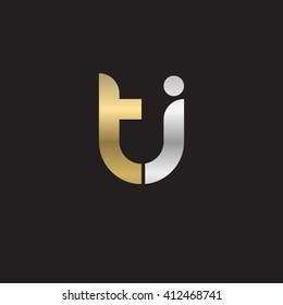 initial letter ti linked round lowercase logo gold silver black background