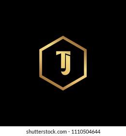 Initial letter TJ JT minimalist art monogram Hexagon shape logo, gold color on black background