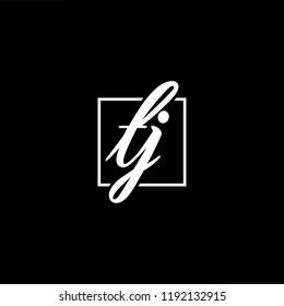 Initial letter TJ JT minimalist art monogram shape logo, white color on black background