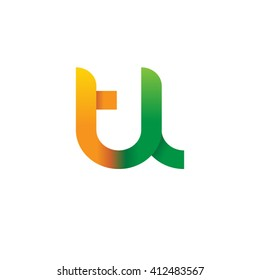 initial letter tl linked round lowercase logo orange green