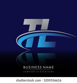 initial letter TL logotype company name colored blue and grey swoosh design. vector logo for business and company identity.